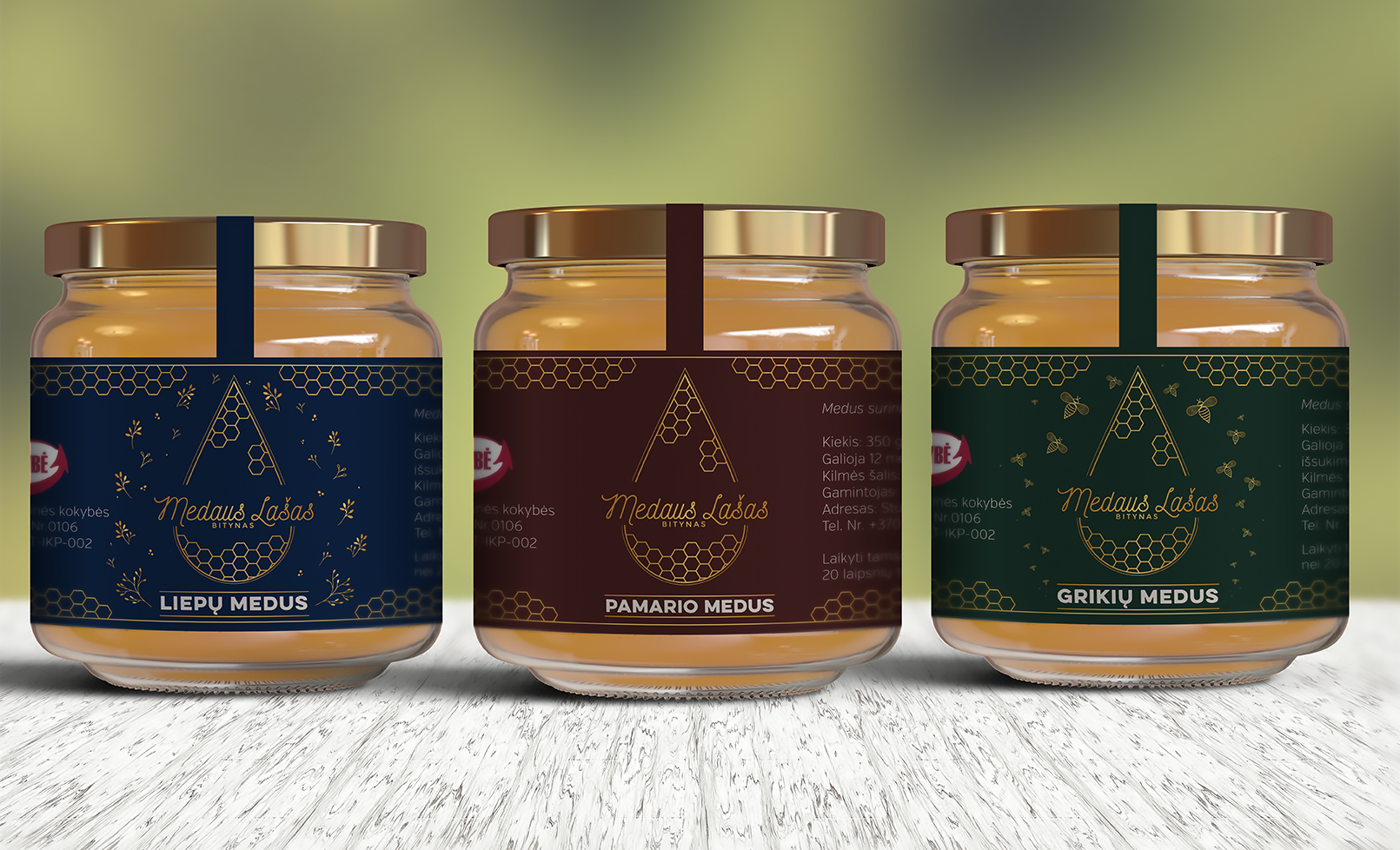 Bespoke Packaging design for Medaus Lašas Apiary mockups