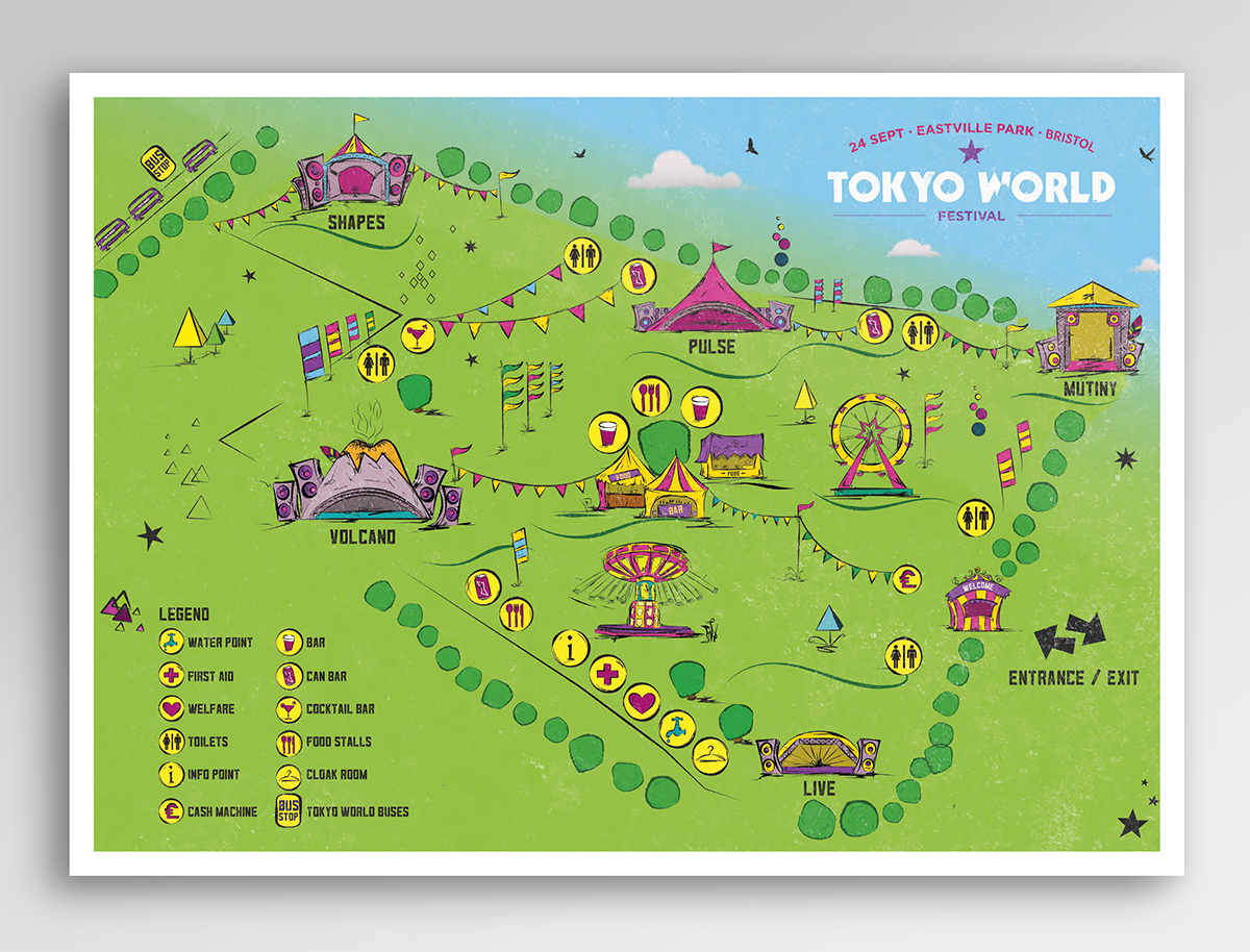 Where Is Tokyo Located On The World Map.Wondersomethings Custom Illustration For Festival Site Map Tokyo