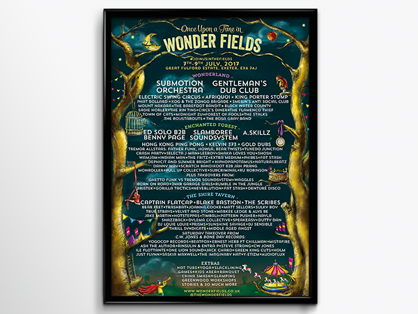 Wonder Fields Festival 2017 poster design- fair tale theme, custom illustration