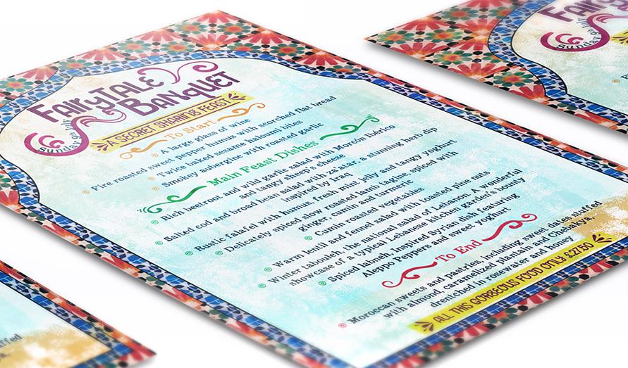 menu design print design custom bespoke morocco inspired