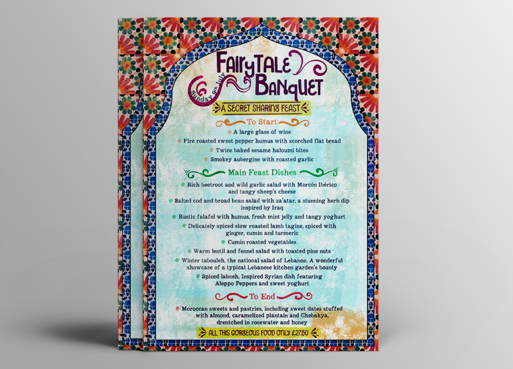 Morocco inspired menu design print design for fairytale banquet