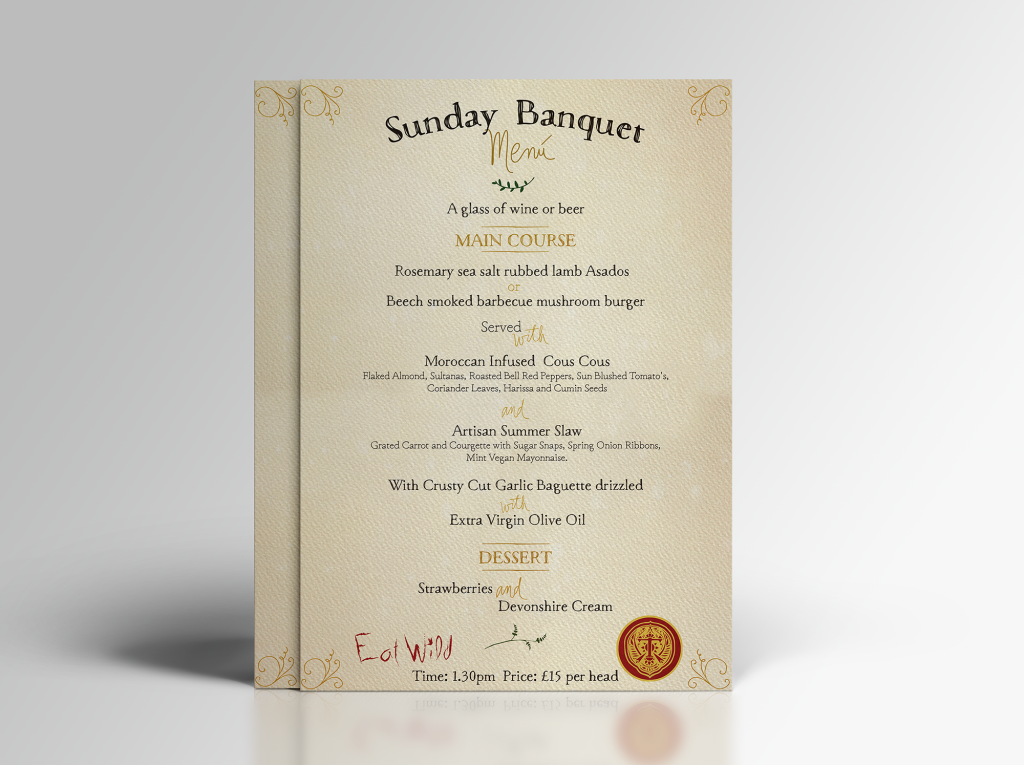 Creative Menu Design for Sunday Banquet, print ready
