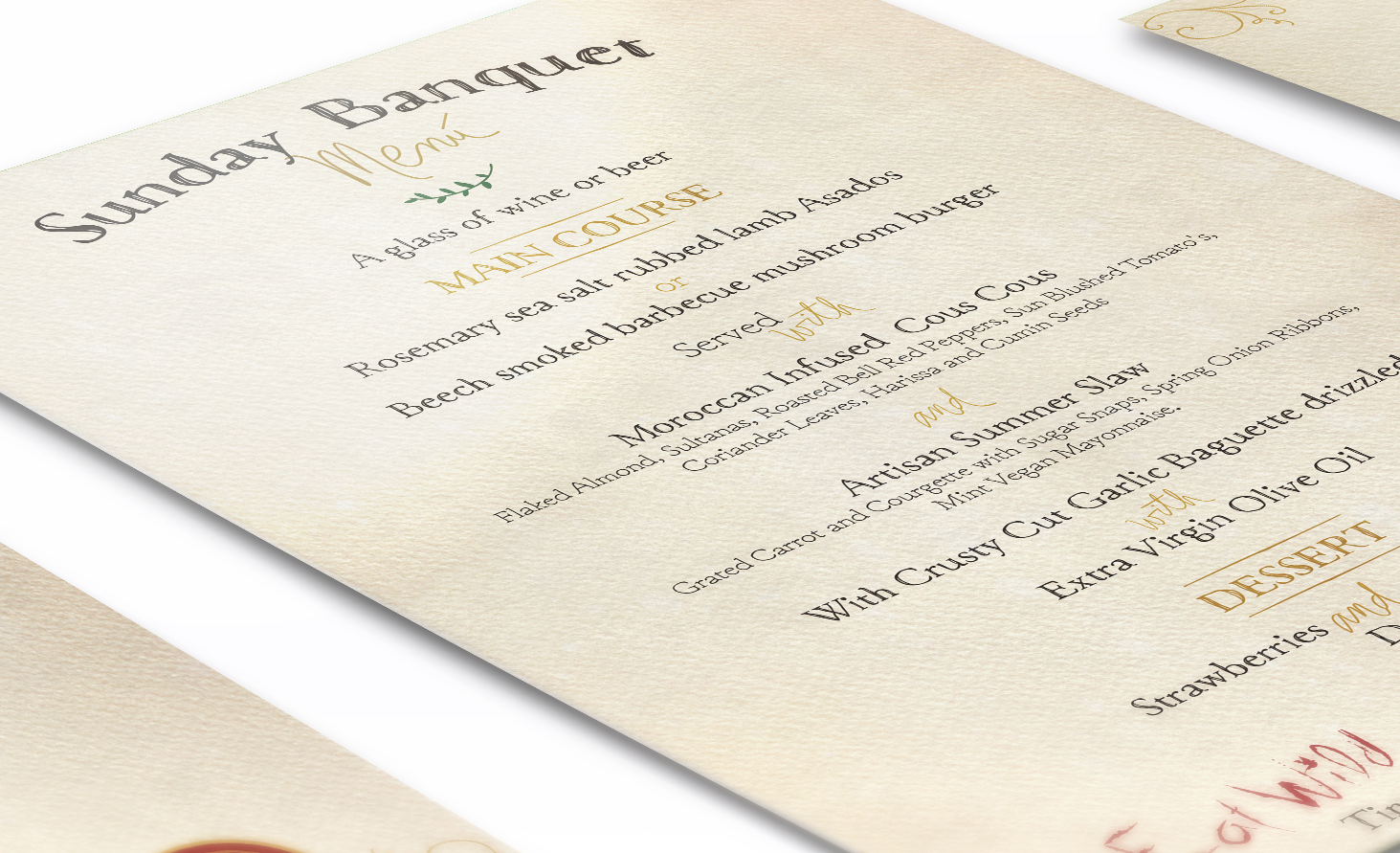 CLoseup of a creative Menu design for a Sunday Banquet