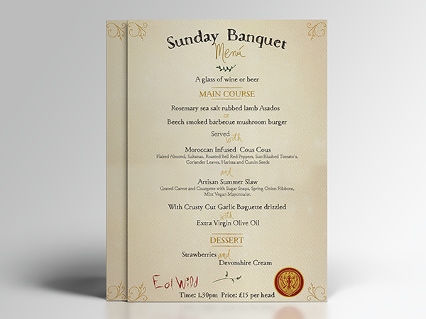 bespoke banquet menu design for Sunday Banquet