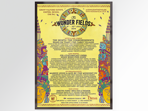 Wonder Fields festival poster design 2016 aztek theme