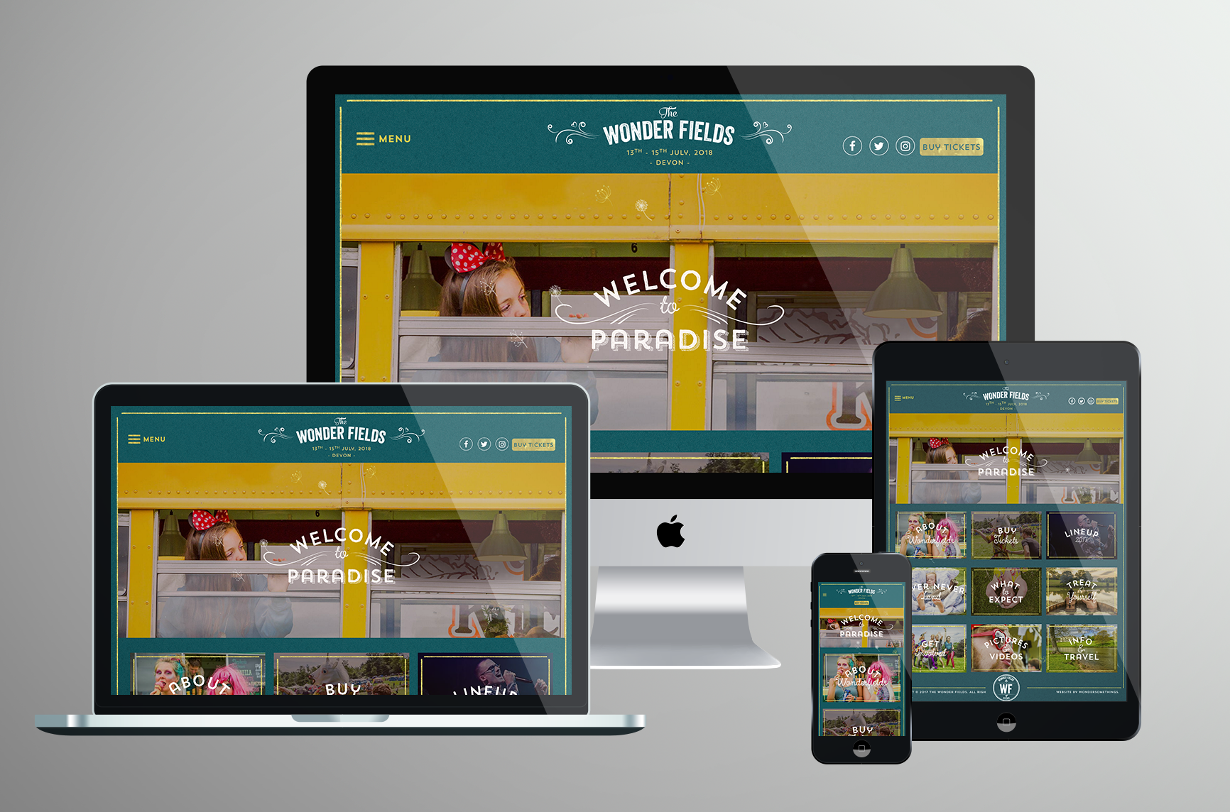 Creative Web design & Development for Wonder Fields Festival with custom illustrations
