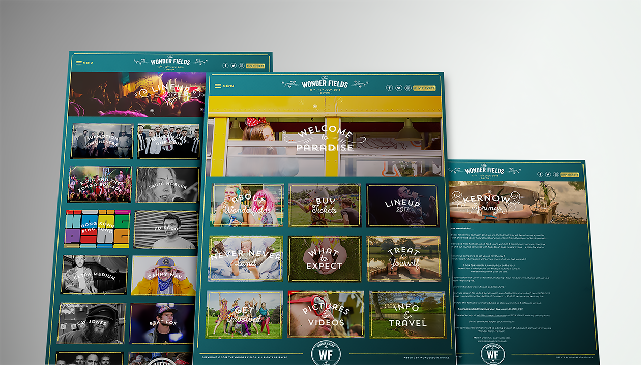 Wonder Fields Festival bespoke web design and development mockup
