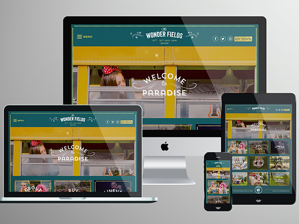 Wonder Fields Website design & development, responsive mockupa